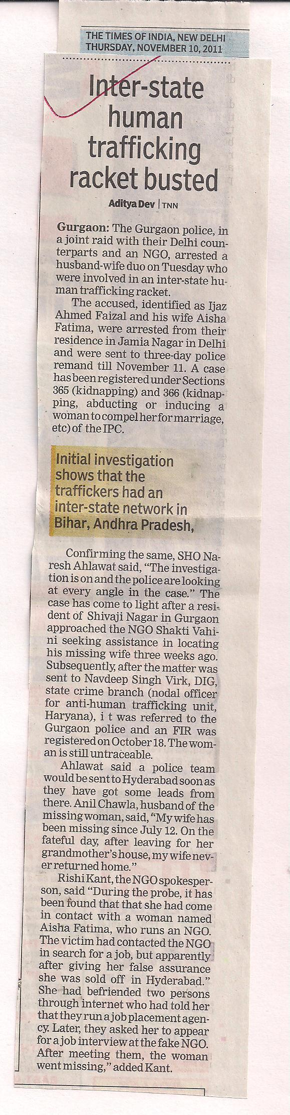 Inter State Human Trafficking Racket Busted
