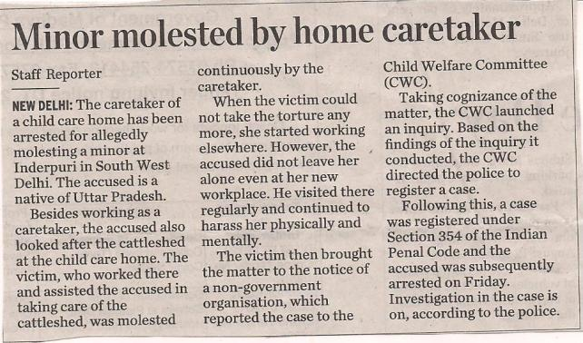 Minor molested by home caretaker
